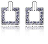 Miki&Co Silver Swarovski Elements Women's Crystal Pierced Square Earrings, with a Gift Box
