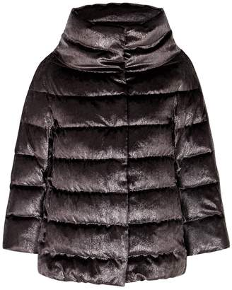 Herno Anthracite Quilted Velvet Jacket