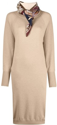 Salvatore Ferragamo Panelled Cashmere Midi Dress