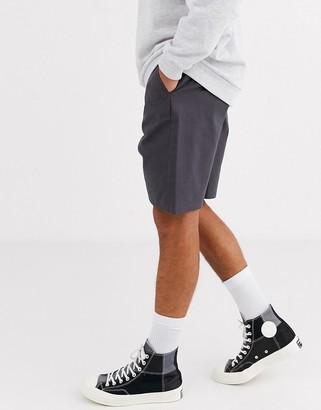 ASOS DESIGN relaxed skater chino shorts in dark gray