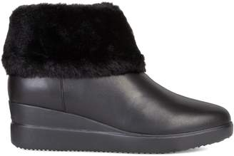 Geox Stardust Faux Fur-Trim Leather Wedge Booties