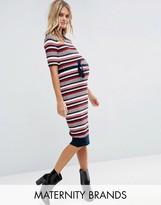 Mama Licious Mama.licious Mamalicious Maternity Rebekah Midi Dress In Stripe