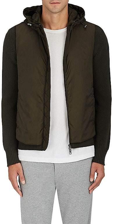 Moncler Men's Tech-Fabric & Rib-Knit Wool Hooded Jacket