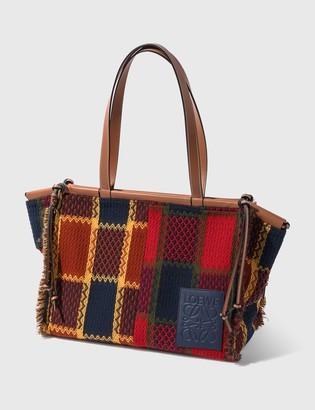 Loewe Cushion Tote bag In Tartan And Calfskin