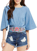 GB Embroidered Flared-Sleeve Chambray Crop Top