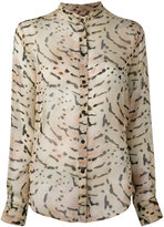 Tom Ford printed band collar shirt - women - Silk - 40