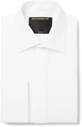 Favourbrook White Slim-Fit Bib-Front Double-Cuff Cotton-Pique Tuxedo Shirt