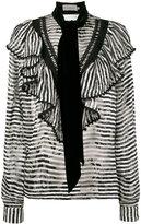Preen by Thornton Bregazzi Phillipa scarf detail striped blouse - women - Silk/Viscose - L