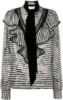 Preen by Thornton Bregazzi Phillipa scarf detail striped blouse - women - Silk/Viscose - M