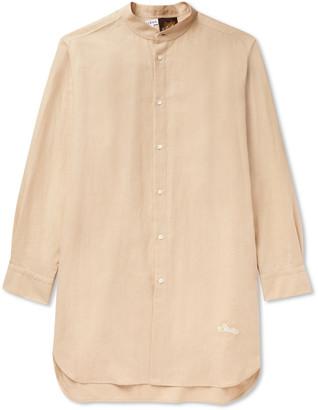 Loewe + Paula's Ibiza Grandad-Collar Logo-Embroidered Linen And Cotton-Blend Shirt