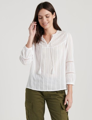 Lucky Brand Marly Eyelet Peasant Top