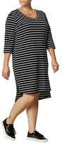 Junarose Plus Striped Three-Quarter Sleeve Shift Dress
