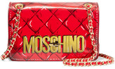 Moschino Printed Leather Shoulder Bag - Red