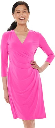 Chaps Women's Three Quarter Sleeve Faux Wrap Dress