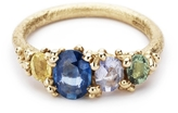 Ruth Tomlinson Four Stone Blue Sapphire Ring with Granules