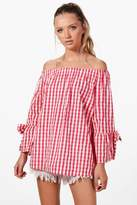 boohoo Alexis Gingham Flute Sleeve Cotton Blouse