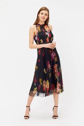 Coast Floral Print Ruched Mesh Dress