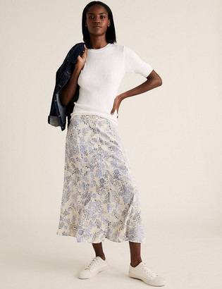 Marks and Spencer Floral Button Front Midi A-Line Skirt
