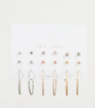 New Look 9 Pack Hoop and Stud Earrings Set