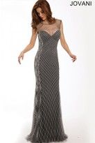 Jovani Exposed Back Net Overlay Sheath Evening Dress 94495
