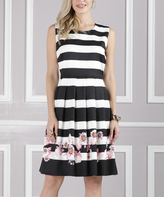 White & Black Stripe Floral-Border Fit & Flare Dress - Plus