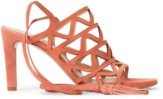 Chloé Laser Cut Ankle-Wrap Suede Sandals