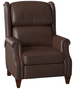 Bradington-Young Walsh Faux Leather Recliner Body Fabric: Applause Choco Swiss, Leg Color: Cobblestone, Cushion Fill: Spring Down, Reclining Type: Pus
