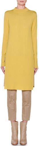 Agnona Long-Sleeve Banded High-Low Tunic, Yellow