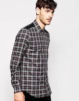 Antony Morato Check Shirt With Faux Leather Shoulder Patches - Black