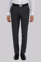 Moss Bros Slim Fit Machine Washable Grey Semi Plain Pants