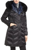 1 Madison Women's Two-Tone Down Parka With Genuine Fox Fur Trim