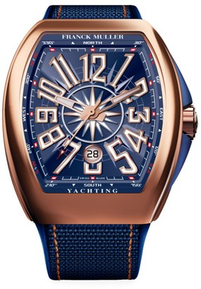 Franck Muller Vanguard Yachting Rose Gold, Leather & Rubber Strap Watch