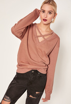 Missguided Pink Cross Front Sweatshirt