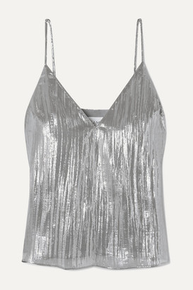 CAMI NYC The Olivia Silk-blend Lame Camisole - Silver