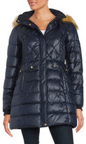 Jones New York Faux Fur-Accented Quilted Coat