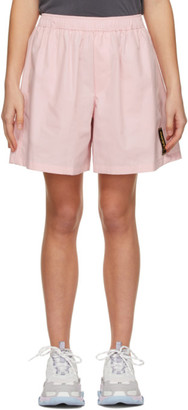 we11done Pink Logo Patch Shorts