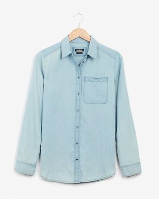 Express Denim One Pocket Boyfriend Shirt
