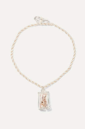 Maryam Nassir Zadeh Shell Cube Glass And Cord Necklace - Clear