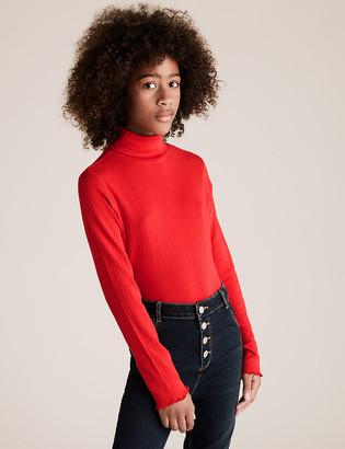 Marks and Spencer Cotton Roll Neck Top (6-16 Yrs)