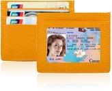 XeYOU Men's Leather RFID Blocking Minimalist Money Clip Front Pocket Wallet Credit Card Holder with ID Window