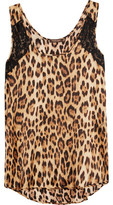 Roberto Cavalli Corded Lace-Paneled Leopard-Print Silk-Blend Chemise