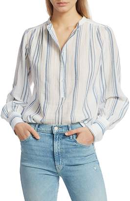 Frame Striped Gauze Button-Up Shirt