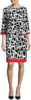Ronni Nicole 3/4 Sleeve Geometric Shift Dress