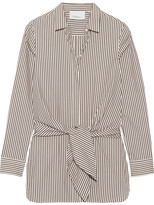 3.1 Phillip Lim Tie-front Striped Cotton And Silk-blend Oxford Shirt - Dark brown