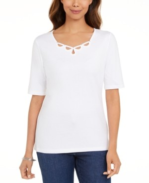 Karen Scott Cotton Keyhole Top, Created for Macy's