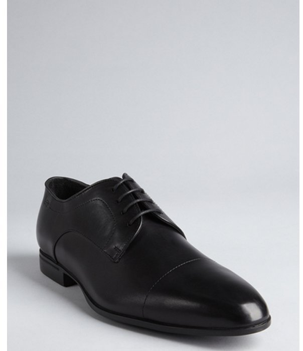 HUGO BOSS black shined leather lace-up oxfords