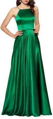 Betsy & Adam Squareneck Satin Ball Gown