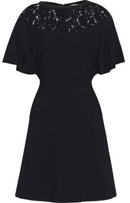 Valentino Corded Lace-paneled Ponte Mini Dress