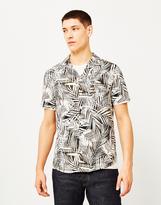 The Idle Man Palm Leaf Cuban Collar Shirt Grey