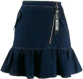Love Moschino Ruffled Hem Denim Skirt